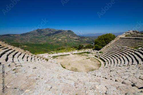 Fototapete Ancient ruin of the greek theater, Segesta
