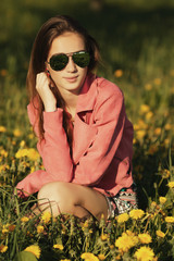 beautiful young girl with sunglasses