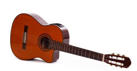 Old wooden guitar isolated over background