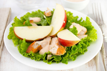 salad with lettuce, chicken and apple
