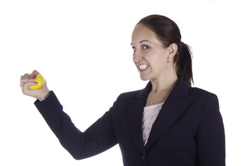 Business woman with stress ball