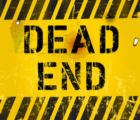 dead end sign, grungy,industrial style ,vector