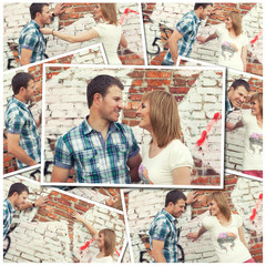 collage of photos with young couple against graffiti wall