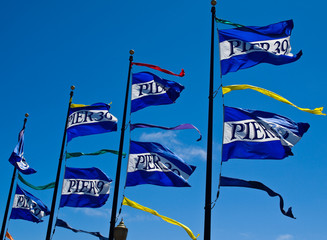The Flags of Pier 39 in San Francisco California USA