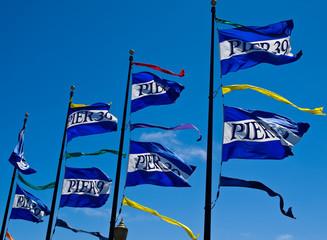The Flags of Pier 39 in San Francisco California USA