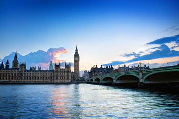 Wall Mural - London, the UK. Big Ben, the Palace of Westminster at sunset