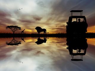Safari jeep in African landscape