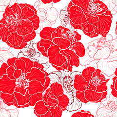 Canvas Prints Abstract Floral Seamless red pattern with floral background