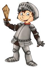 Photo sur Plexiglas Chevaliers Ritter, Junge, Kind, Rüstung, Schwert