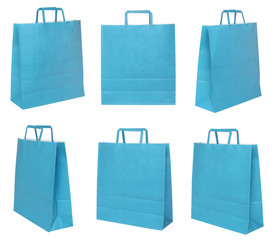 Various blue shopping bags