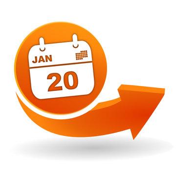 agenda sur bouton web orange