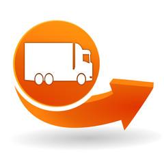 Fototapete - camion sur bouton web orange