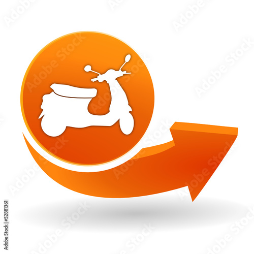 Wall mural scooter sur bouton web orange