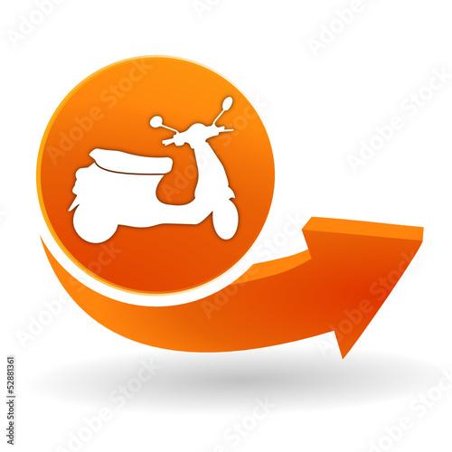 Fototapete scooter sur bouton web orange