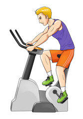 Cartoon illustration of a man riding fitness bike