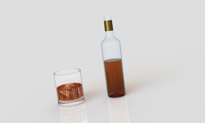 a bottle of whiskey with glass and ice