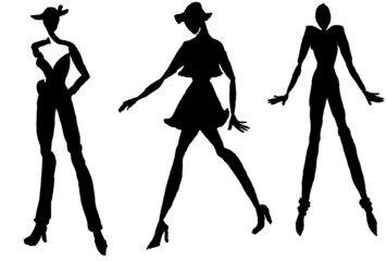 silhouettes of moving women