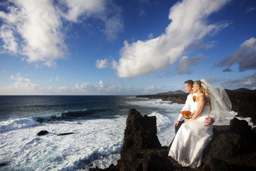 The bride and groom are sitting and looking at the ocean.