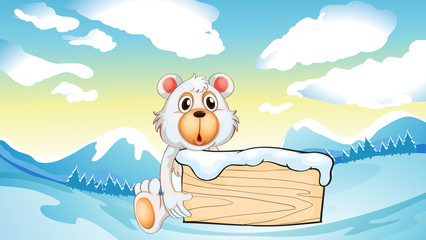 A bear holding an empty wooden board at the snowy mountain