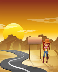 A cowgirl standing beside an empty wooden signboard along the ro
