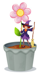 A pot with a flower and a witch at the top