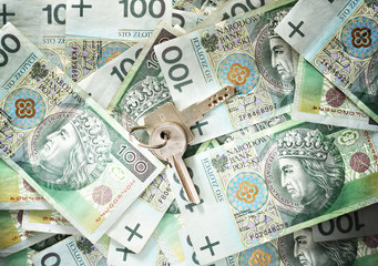 House keys on a background of banknotes