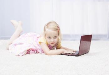 playing on laptop