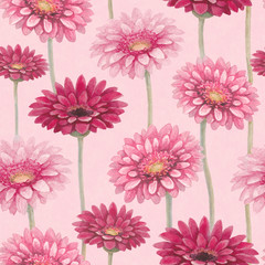 Watercolor gerber flowers. Seamless pattern