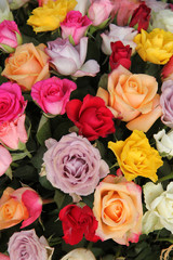 Mixed flower arrangement in bright colors