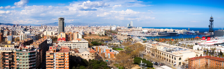 panoramic view of seaside part of Barcelona from Montjuic