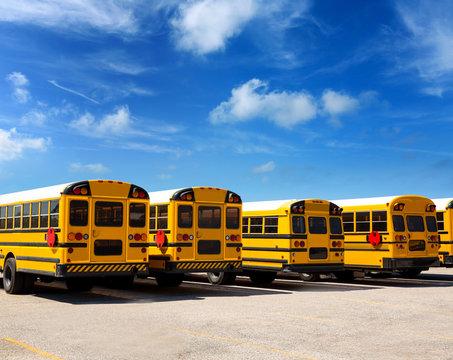 American school bus row under blue sky