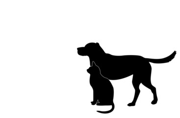dog and cat silhouette..