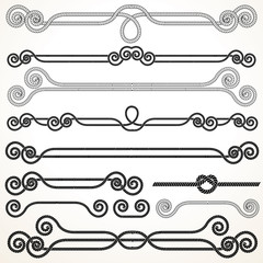Rope Ornaments. Decorative Design Elements.