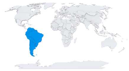 South America on bump map of the world