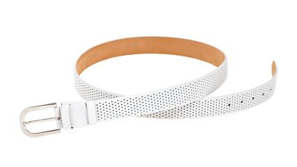 White leather belt isolated on white background