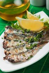 Grilled sardine fish