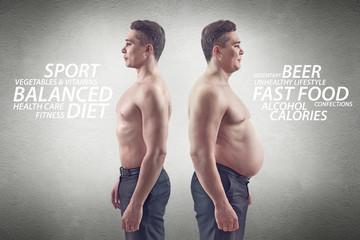 fat and thin, slim man