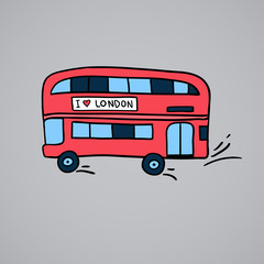 illustration of british red double decker bus