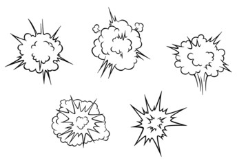 Cartoon clouds of explosion