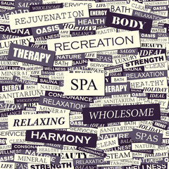 Wall Murals Newspapers SPA. Word cloud concept illustration.