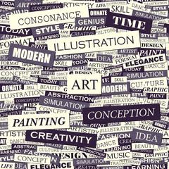 Wall Murals Newspapers ART. Word cloud concept illustration.