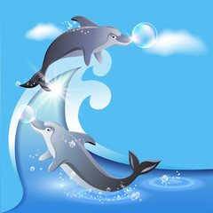 Photo sur Aluminium Dauphins Flyer template with two dolphins