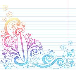 Surfboard Hawaiian Summer Beach Vacation Sketchy Doodles