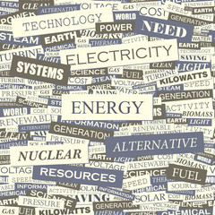 ENERGY. Word cloud concept illustration.