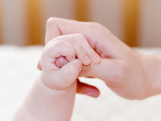 small child is held by the hand the parent