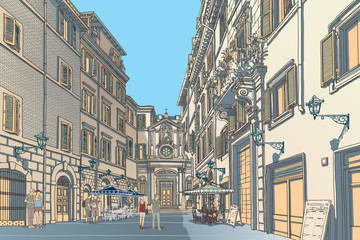 Poster de jardin Drawn Street cafe Town Square