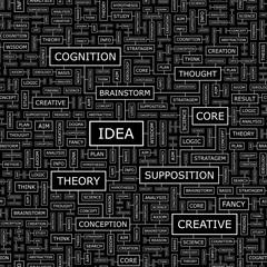 IDEA. Word cloud concept illustration.