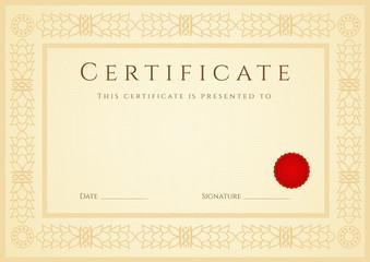 Certificate / Diploma template (design sample).Floral  Frame