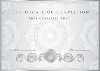 Silver Certificate / Diploma template (design sample). Guilloche