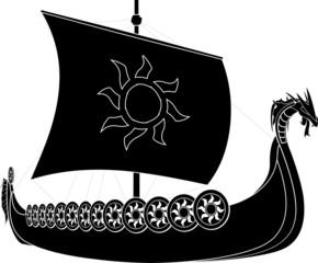 viking ship. stencil. second variant